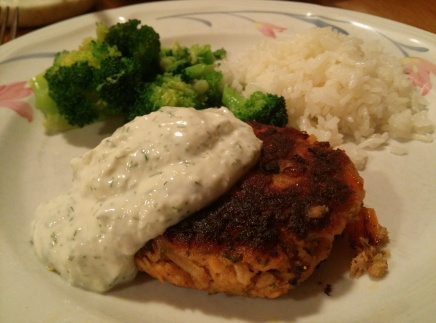 Fresh Salmon Cakes with a cucumber dill sauce.
