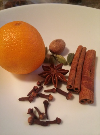 Clementine, star anise, whole cloves, nutmeg, cinnamon and cardamom, OH MY!