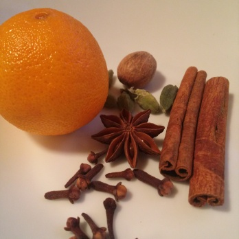 Clementine, star anise, whole cloves, nutmeg, cinnamon and cardamom, OH MY!