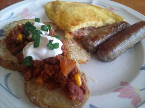Ham and Cheddar omelets, sage sausage and chili potatoes